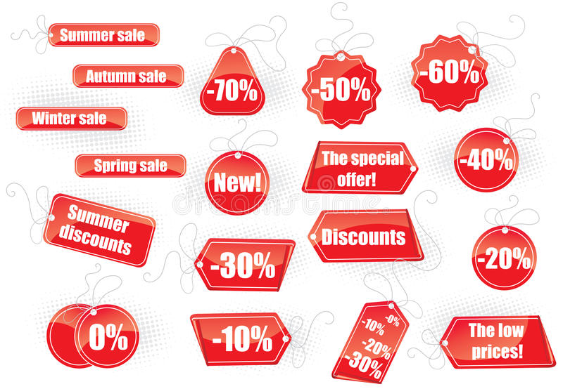 Set of sale tags stock illustration