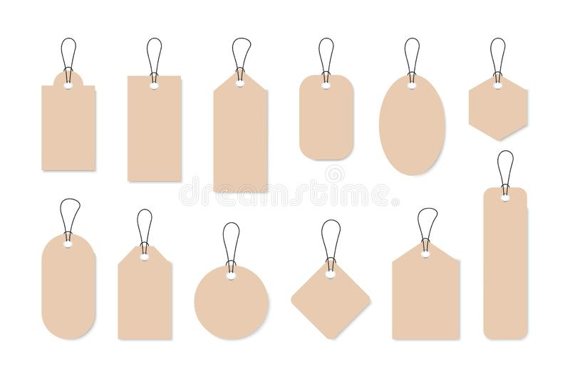 Set of sale tags and labels, template shopping labels. Blank, discount and price tags on paper. Special offer. Vintage. Vector stock illustration