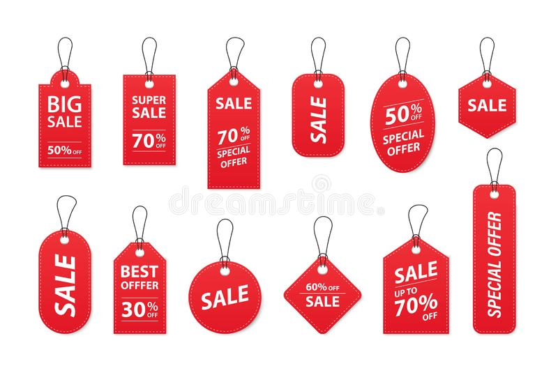Set of sale tags and labels, template shopping labels. Blank, discount and price tags on paper. Special offer. Vintage. Vector vector illustration
