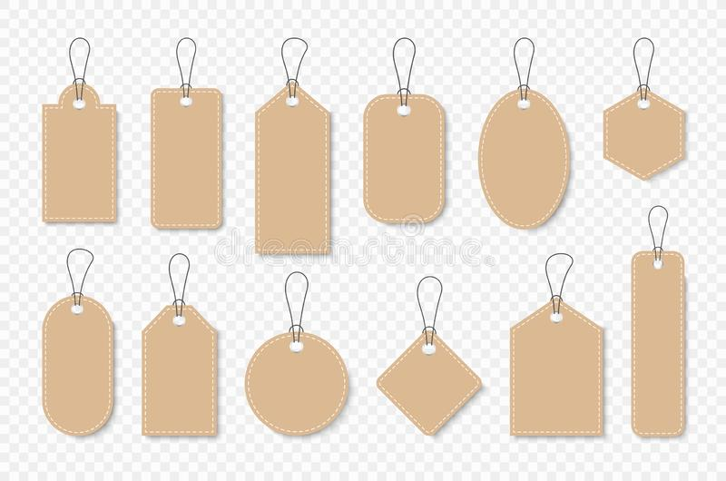 Set of sale tags and labels, template shopping labels. Blank, discount and price tags on paper. Special offer. Vintage. Vector royalty free stock images