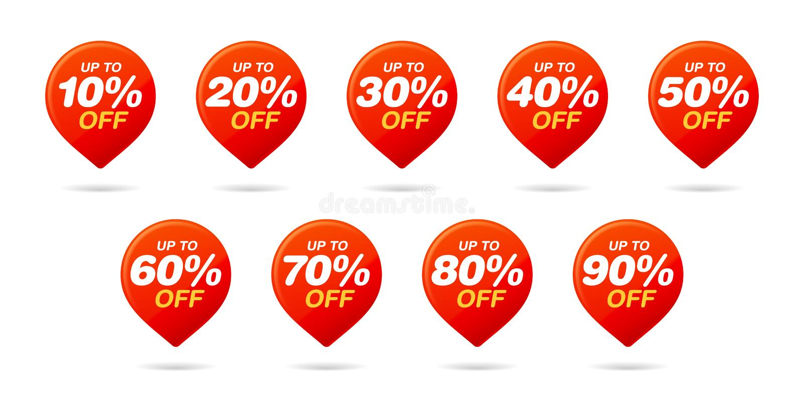 Set of sale tags. Red Pin. Discount stickers pack royalty free illustration