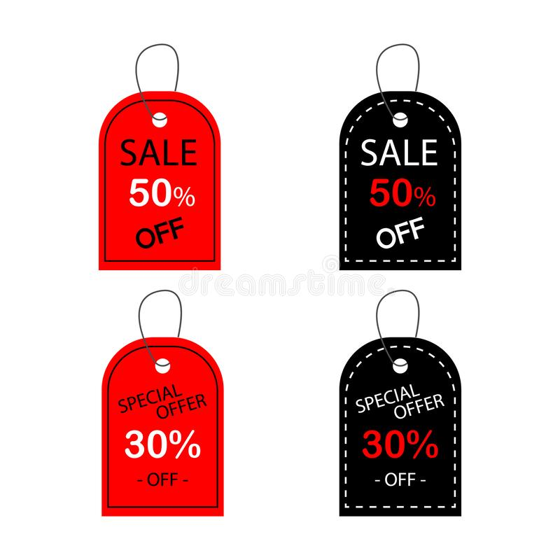 Set of sale tags with text special offer sale 50 30 off. Vector labels for design banners and flyers. Isolated from the background royalty free illustration