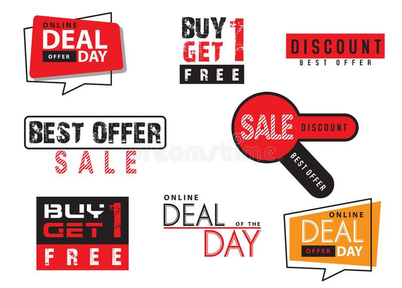 Set of sale tags with. Vector labels special offer for design banners and flyers on white background stock illustration