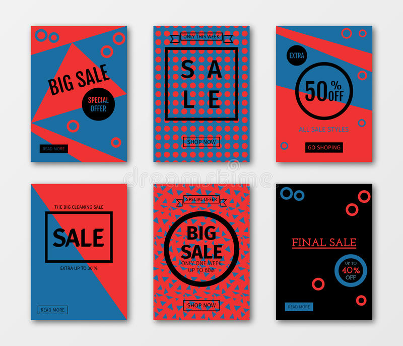 Set of sale templates with discount offer. royalty free illustration