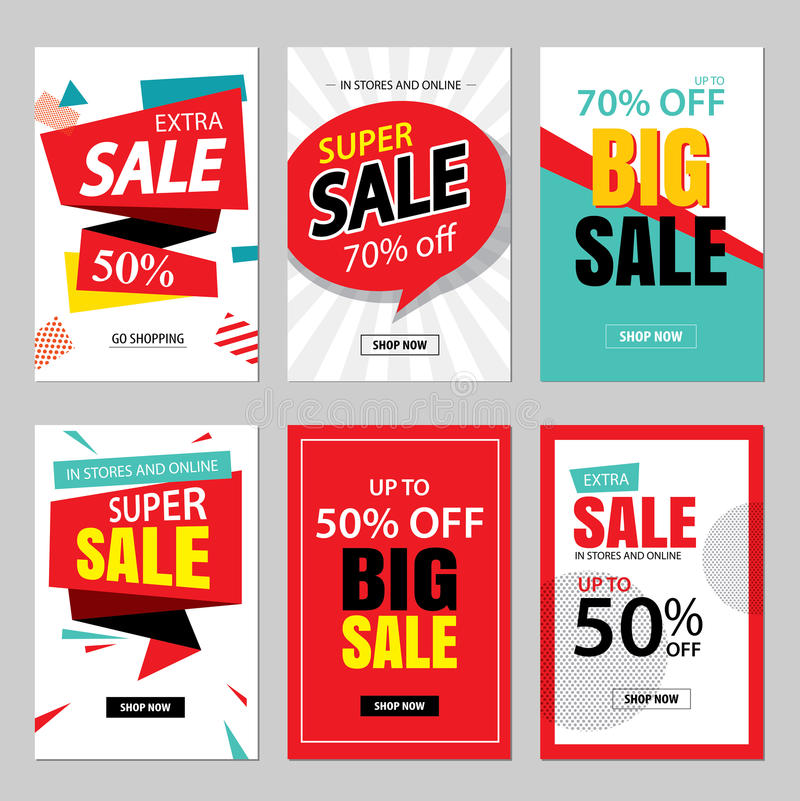 Set of sale website banner templates.Social media banners. For online shopping. illustrations for posters, email and newsletter designs, ads, promotional royalty free illustration