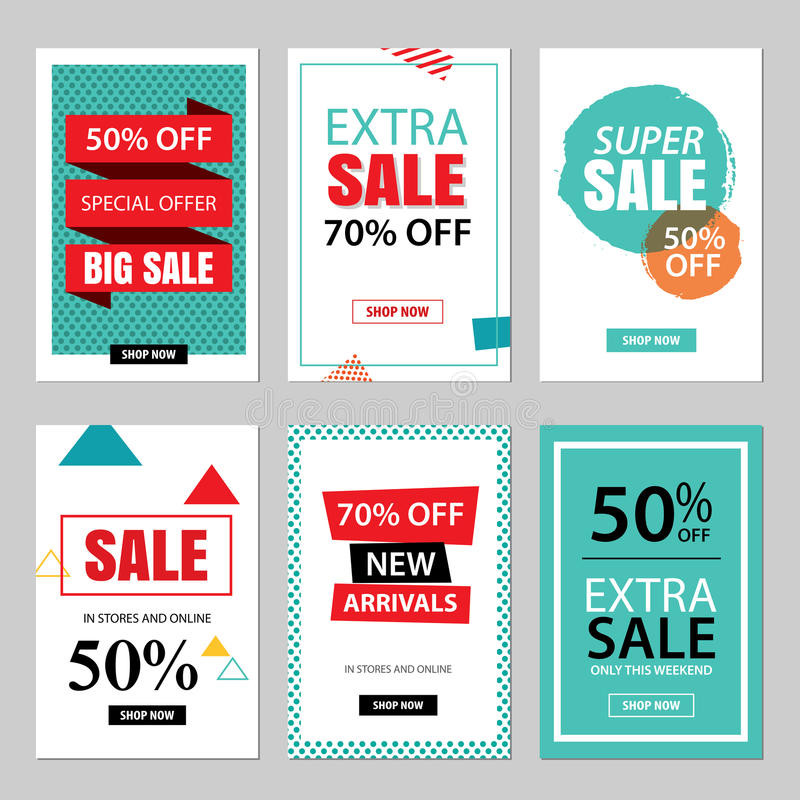 Set of sale website banner templates.Social media banners. For online shopping. illustrations for posters, email and newsletter designs, ads, promotional vector illustration