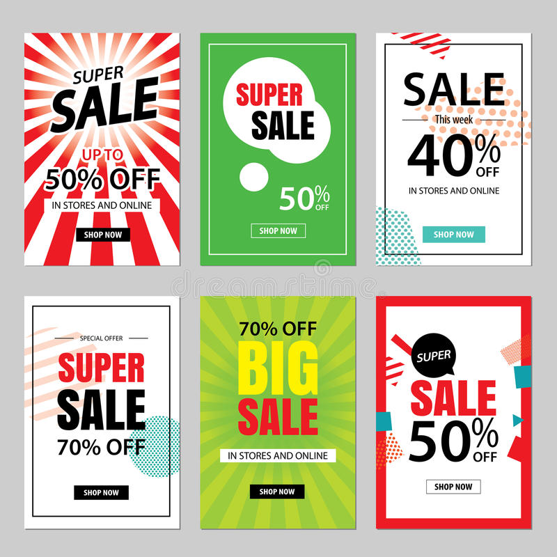 Set of sale website banner templates.Social media banners. For online shopping. illustrations for posters, email and newsletter designs, ads, promotional stock illustration