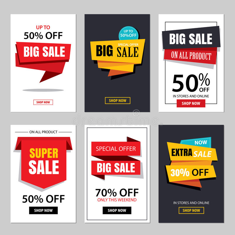 Set of sale website banner templates.Social media banners. For online shopping. Vector illustrations for posters, email and newsletter designs, ads, promotional stock illustration