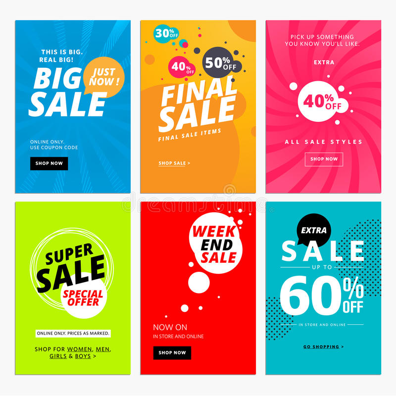 Set of sale website banner templates. Vector illustrations for social media banners, posters, email and newsletter designs, ads, promotional material vector illustration