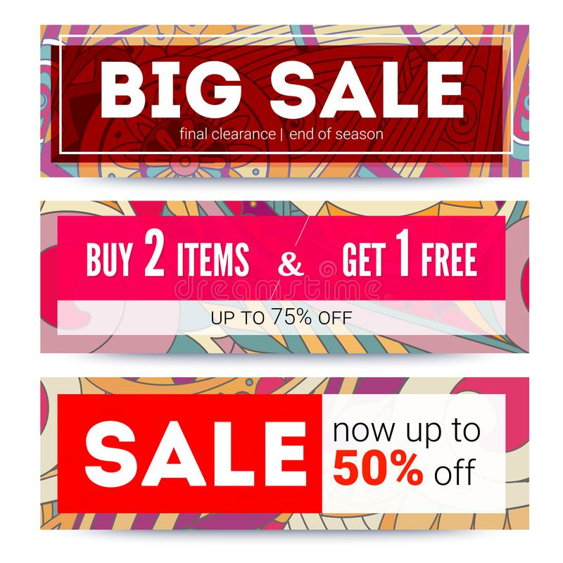 Set of sales banner on tribal pattern backdrop. Offer about fantastic discounts. Big sale, get up to discount, buy two vector illustration