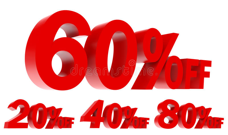 Set of Sales Promotion Off 3d text stock photography