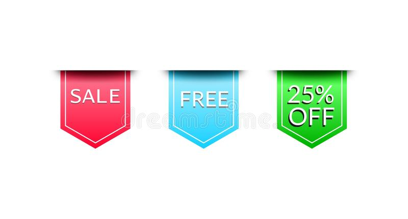 Set sales tags in red, blue and green stock illustration