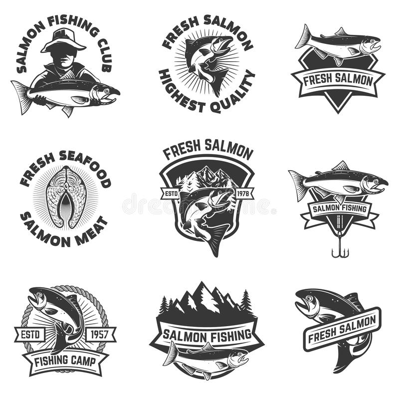 Set of salmon fishing emblems. Seafood. Design elements for logo vector illustration