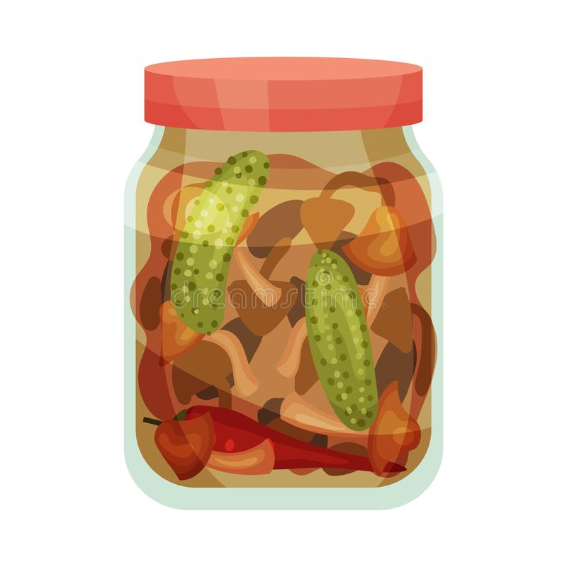 Set of salted vegetables. Vector illustration on white background. Set of pickled cucumbers, peppers and tomatoes in a closed jar. Vector illustration on white stock illustration
