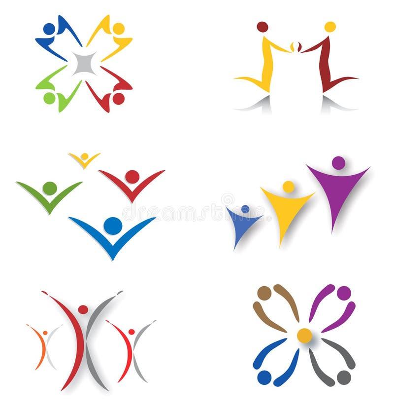 set samkväm för gemenskapsymbolsnätverk vektor illustrationer