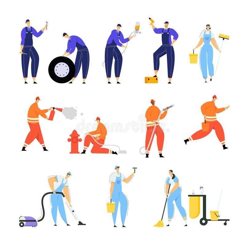 Set samochód naprawy pracownicy z narzędziami dla samochodów Załatwiać, strażakami Stawiającymi Za ogieniu z gasidłem i wodą, royalty ilustracja