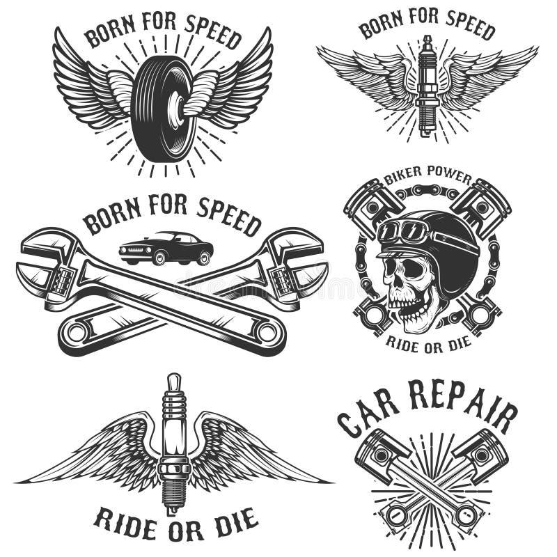 Set samochodów remontowi i bieżni emblematy Iskrowa prymka z skrzydłami, rac ilustracja wektor