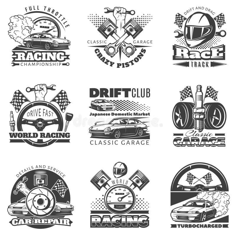 Set samochodowy ścigać się czarni emblematy, etykietki, logowie i mistrzostwo rasy odznaki z opisami klasyk monochromatyczni, royalty ilustracja