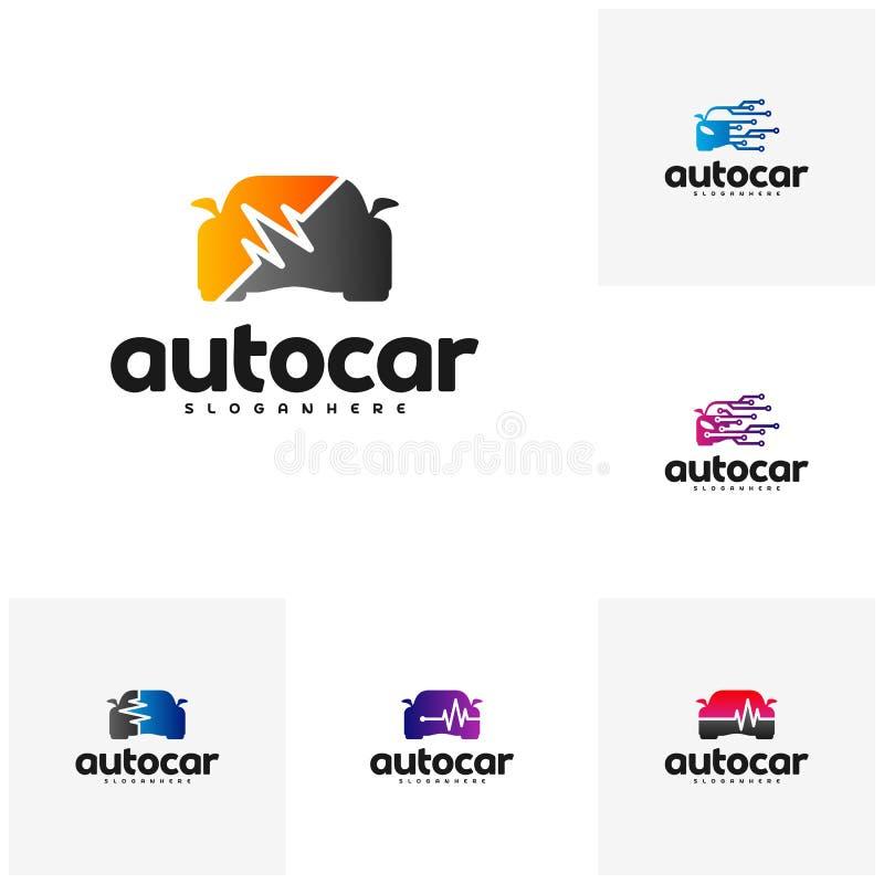 Set Samochodowy pulsu logo szablon Samochodu loga remontowy szablon Auto samochodowa logo naprawa Samochodowy technika logo royalty ilustracja