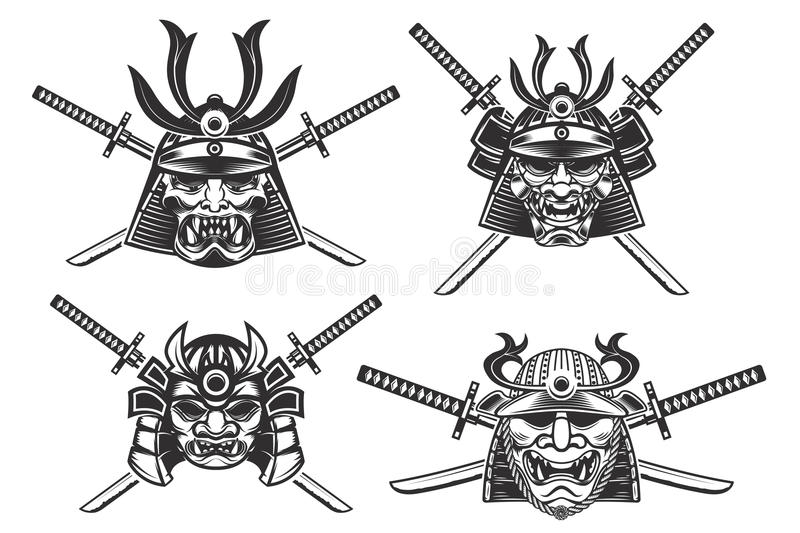 set of the samurai helmets with swords isolated on white background. Design elements for stock photos