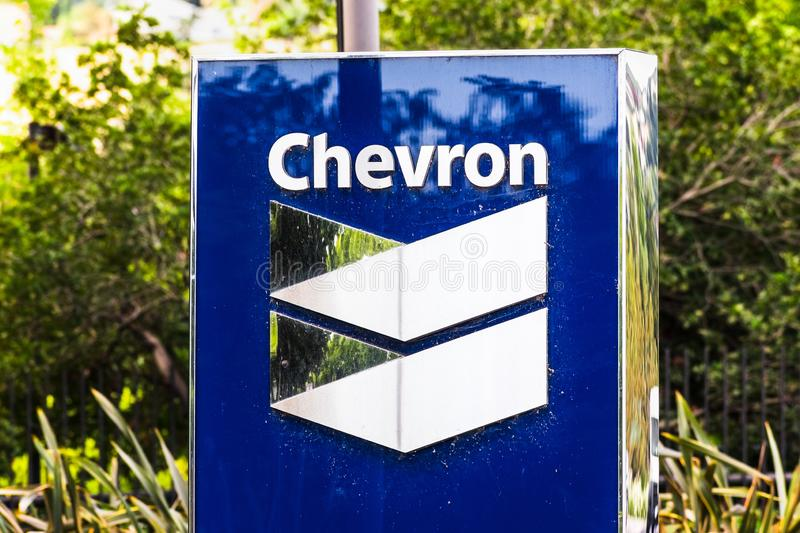 25 set 2019 San Ramon / CA / USA - Firma Chevron nella sede centrale della baia di San Francisco; Chevron Corporation è immagine stock