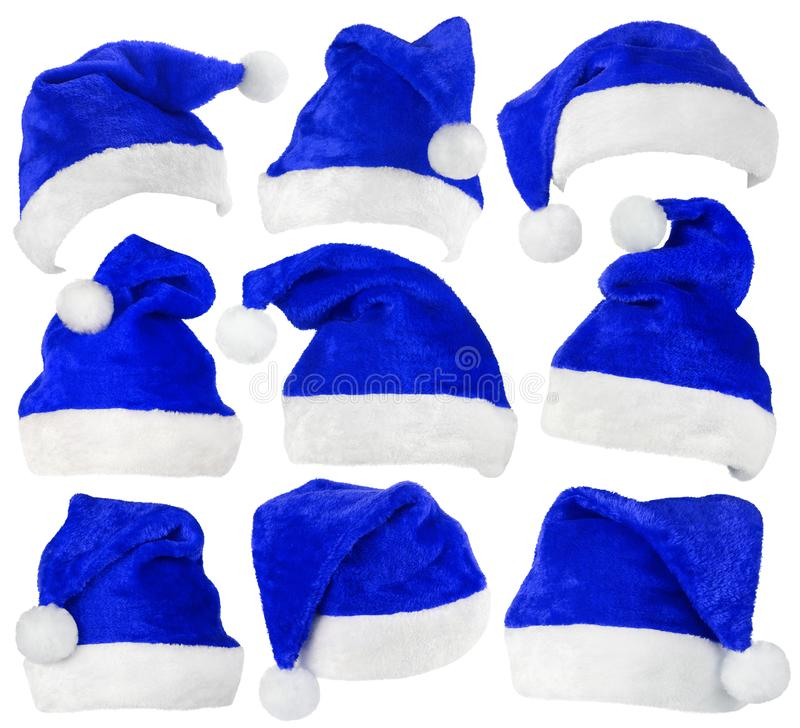 Set of Santa Claus blue hats on white royalty free stock images