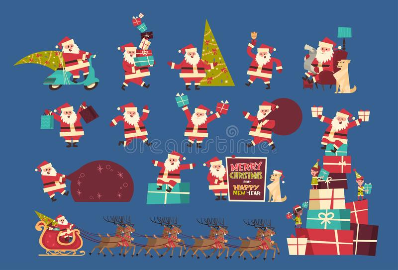 Set Of Santa Claus With Presents Merry Christmas And Happy New Year Collection Winter Holidays Concept Banner. Flat Vector Illustration vector illustration