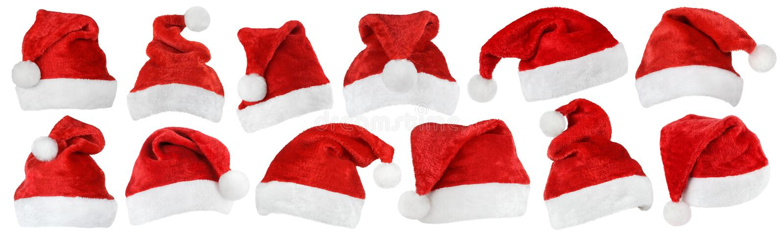 Set of Santa Claus red hats on white royalty free stock photo