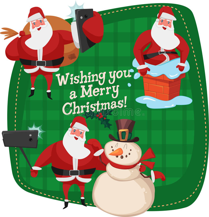 Set of Santa Clauses ready for christmas. Snowman. Selfies friends. Good New Year spirit. stock images