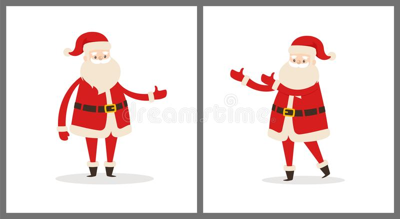 Set Santa klauzula w Różnej poza wektoru ikonie ilustracja wektor