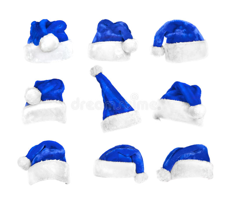Set of Santa`s hats isolated on white with clipping path stock photos
