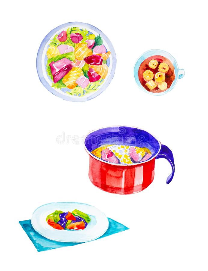 Set of sashimi,tuna with rice in a pot,rolls and salad in a plate. Watercolor illustration isolated on white background.  royalty free illustration