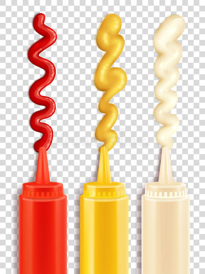 Set Of Sauce Bottle. Color icons depicting sauce bottle with strips of seasoning vector iluustration royalty free illustration