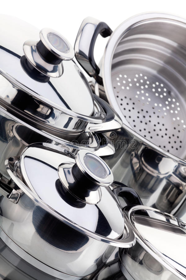 Download A Set Of Saucepans, Stainless Steel Stock Image - Image: 15965791