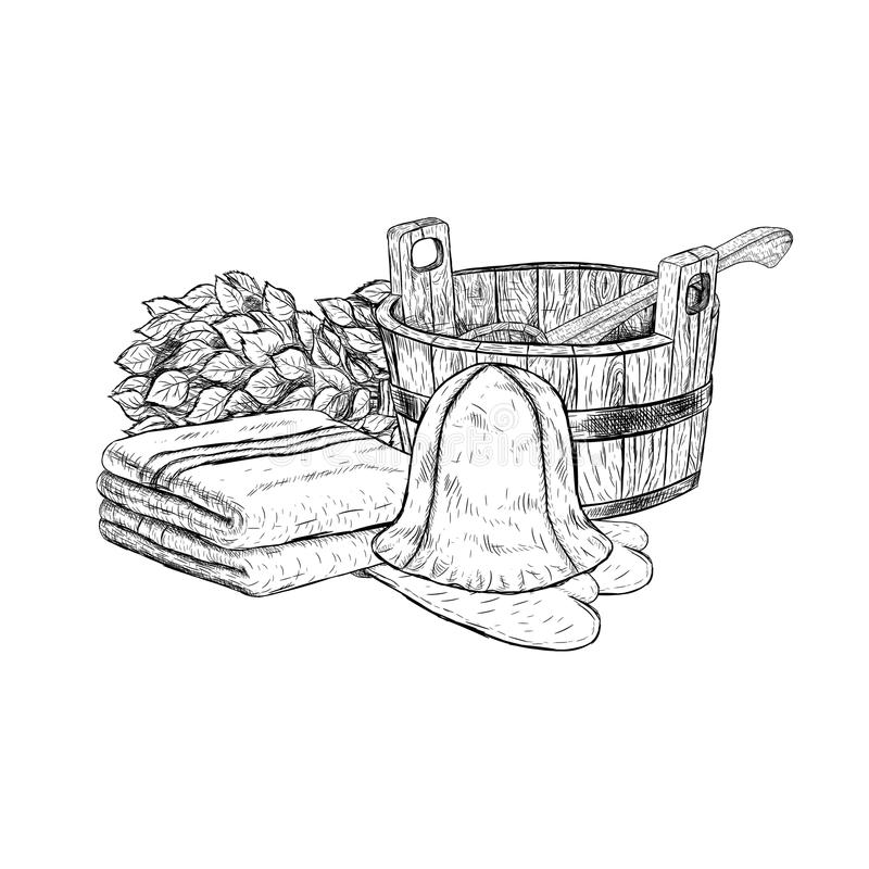 Set for sauna. Hand drawn vector items for bath. royalty free illustration