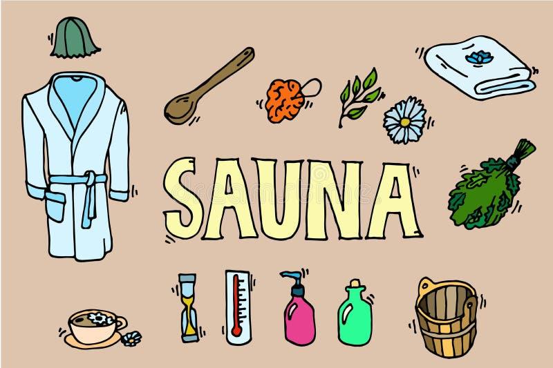 Set sauna ikony ilustracji