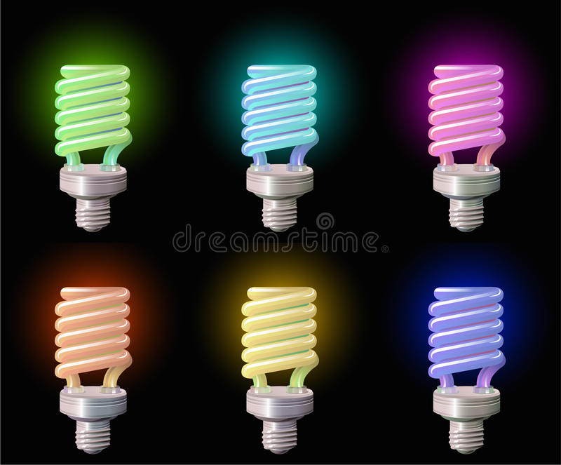 Download Set Of Save Lightbulb In Colors Stock Illustration - Image: 15047782