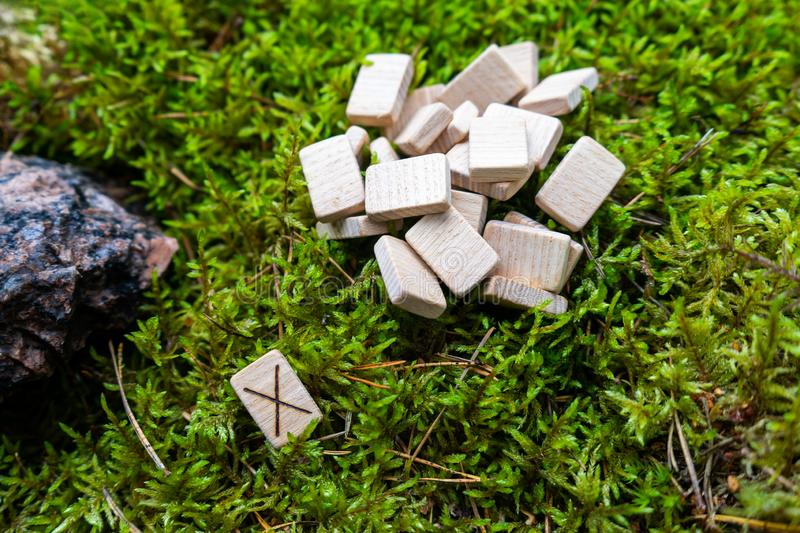A set of Scandinavian runes made on wooden planks lies on a natural moss, next to the Gebo rune, attracting the gifts of God. Fortune telling tool, concept for stock photo