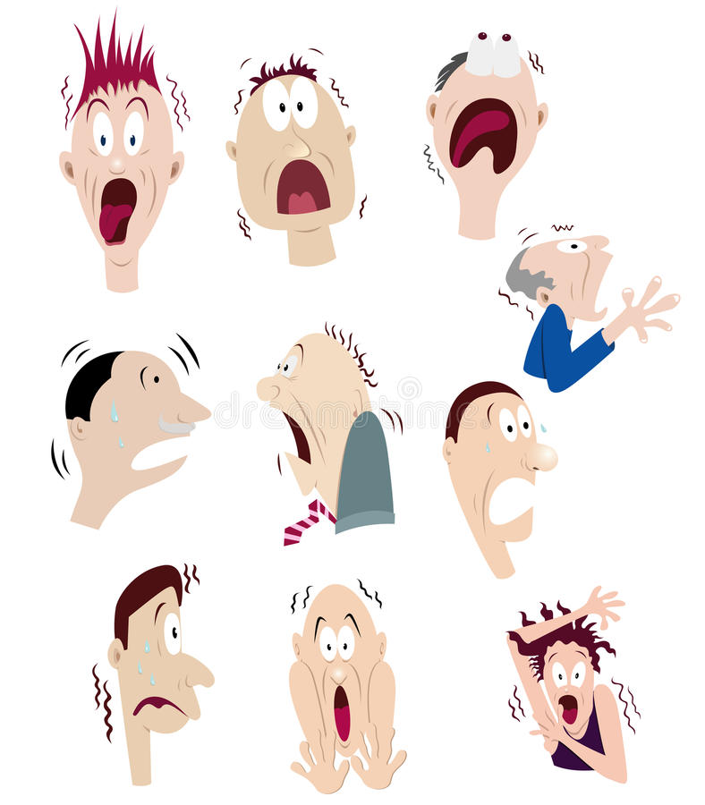 Set of scare faces stock illustration