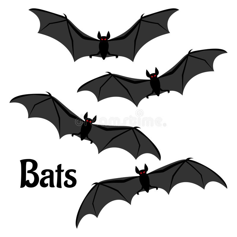 Set of scary halloween bats vector illustration