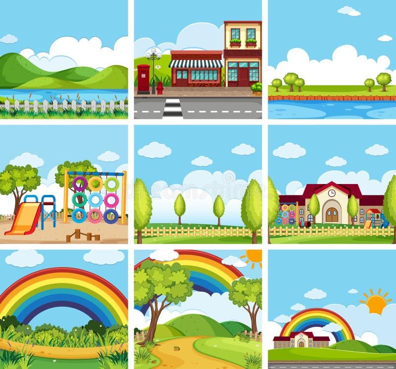 Set sceny parki i miasteczka ilustracja wektor