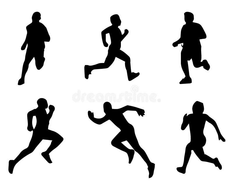 Set Schattenbilder L?ufer auf Sprint, M?nner Auch im corel abgehobenen Betrag Laufende Schattenbilder Vektorillustration stock abbildung