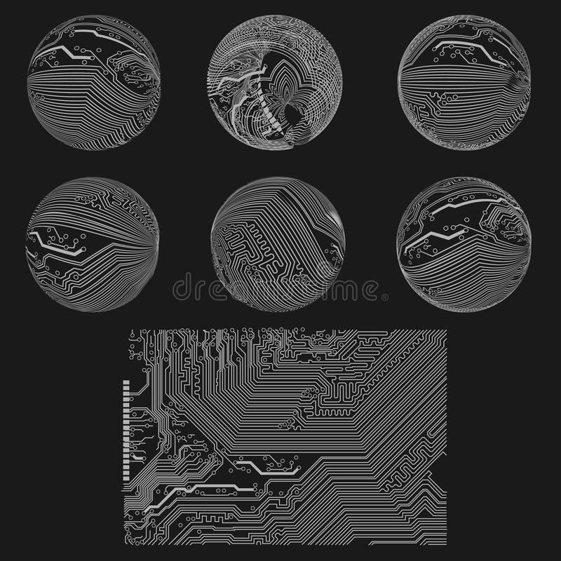 Set of schemes, outlines, circuits, charts, diagra. Ms arranged in circles on black background royalty free illustration