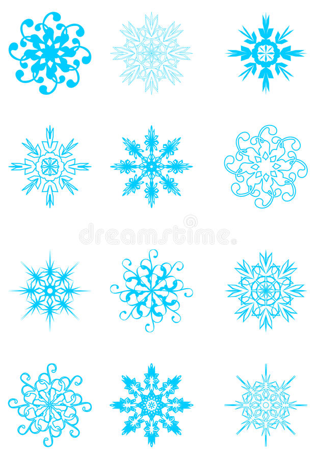 Set Schneeflocken lizenzfreie abbildung