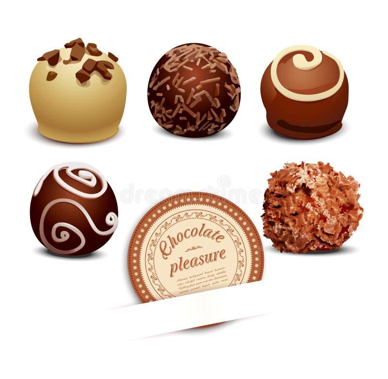 Set Schokolade auf einem weißen Hintergrund stock abbildung