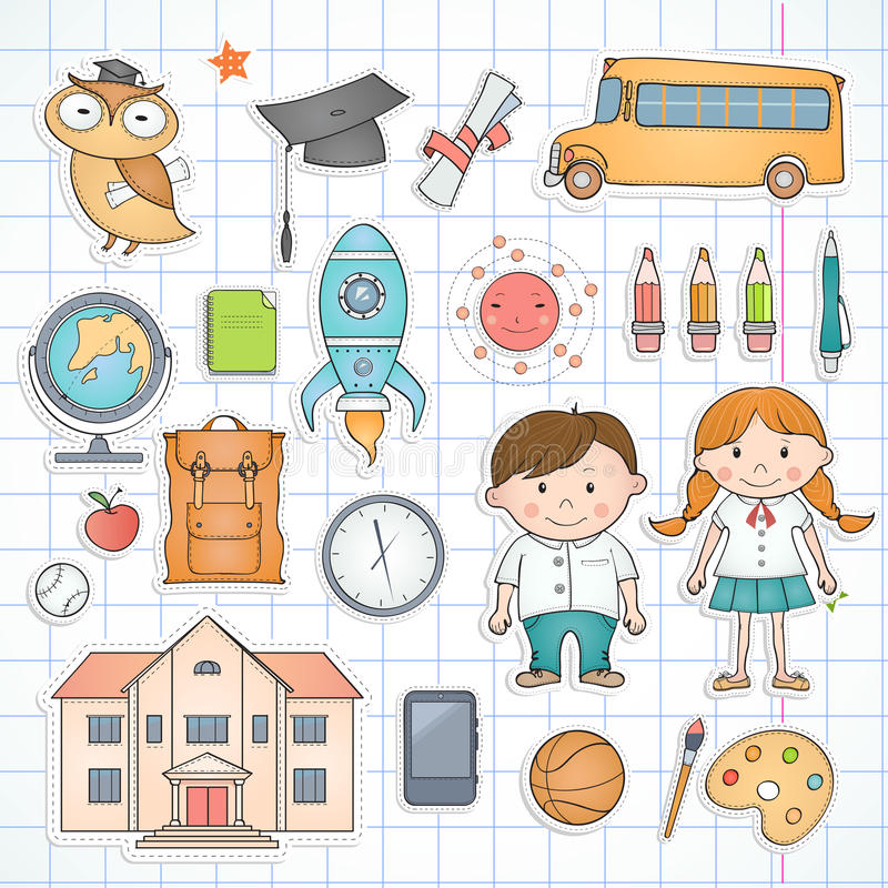 Set of school items. royalty free stock images
