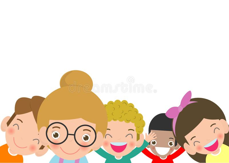 Set of school kids in education concept, back to school template with child, Happy children go to school,Vector Illustration stock illustration
