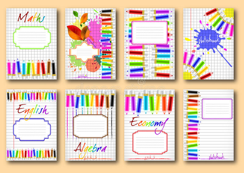 Free School Notebook Cover Vector : Set of school notebook covers stock vector image