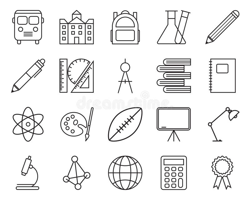 Set of school related line icons. stock photo