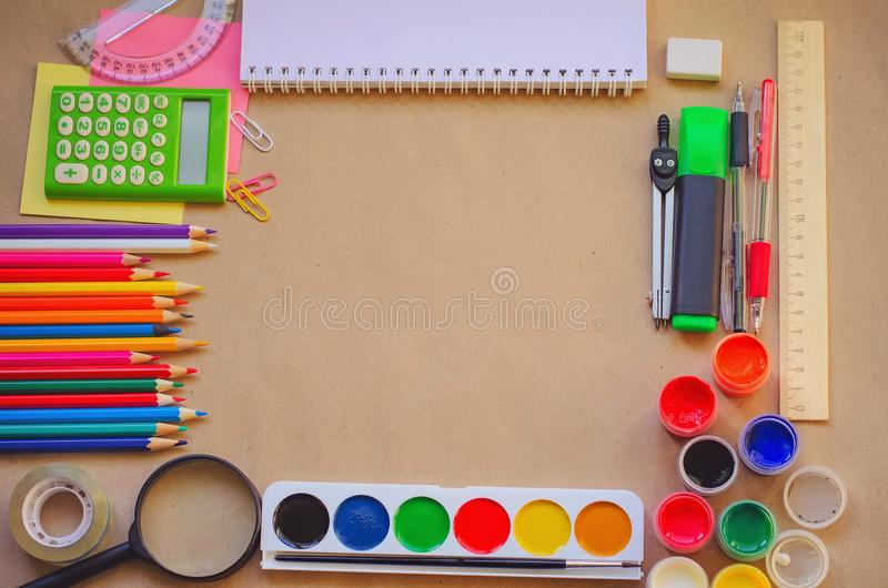 Set of school stationary supplies for creative writing and drawing, copy space, toned photo stock photos